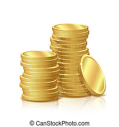pièces, or, isolé, fond, blanc, pile