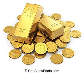 pièces, or, lingots