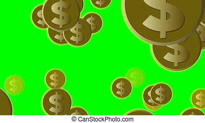 pièces, or, voler, dollar, nous, écran, vert, illustration, animé