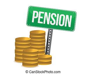 pièces, pension, illustration, signe