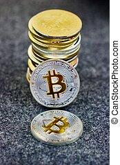 pièces, physique, bitcoin, argent