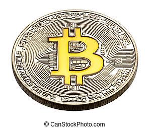 pièces., physique, cryptocurrency, coloré, jaune, bitcoin, bitcoin.