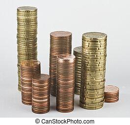 pièces, piles, euro