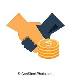 pièces, poignée main, dollars, argent