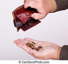 pièces, portefeuille, fauché, polonais, homme affaires, vide