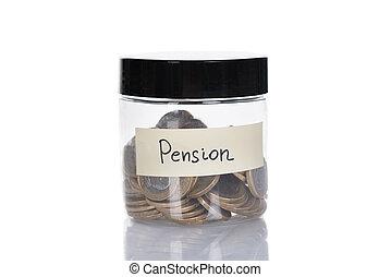 pièces, pot, pension, rempli