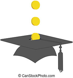 pièces, remise de diplomes, fonds, économies, collège, sauver, banque