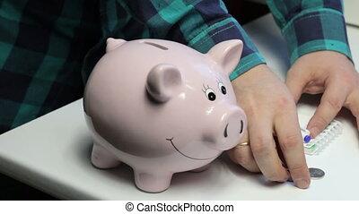 pièces, rose, met, formulaire, notes, là, pig., elle, porcin, notebook., table, marques, banque, homme