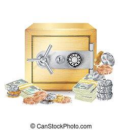 pièces, sûr, illustration., argent, sûr, dollar, isolé, billets banque, banque, concept, vector., piles, finance