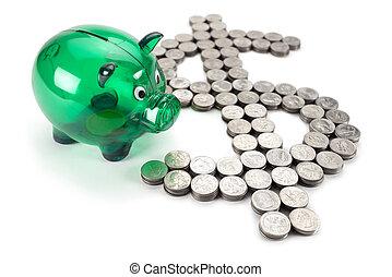 pièces, signe dollar