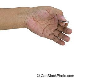 pièces, tenant mains