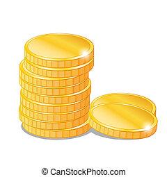 pièces, vecteur, piles, or