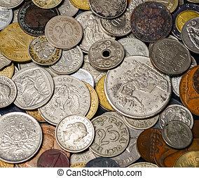 pièces, vieux, fond