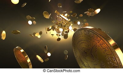 pièces, vol, loopable, fond
