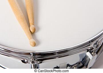 piège, ensemble, bâtons tambour