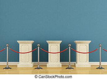 piédestal, bleu, musée