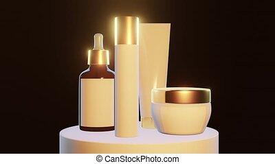 piédestal, cosmétique, jeu, fond, élément, doré, noir, gros plan, pots, lumière