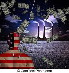 piégé, argent, usine, américain, homme, avant