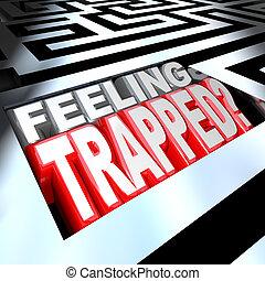 piégé, labyrinthe, puzzle, confondu, labyrinthe, problème, sentiment