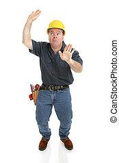 piégé, ouvrier, boîte, construction