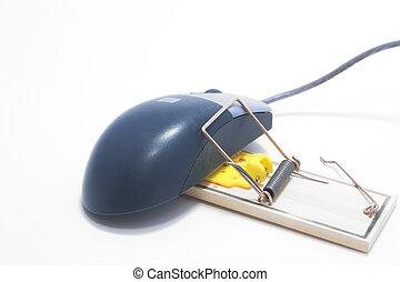 piégé, souris ordinateur