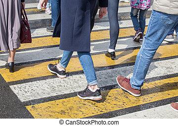 piéton, dépassement, crossing., route, gens