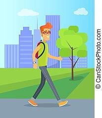 piéton, marche, vecteur, parc, illustration