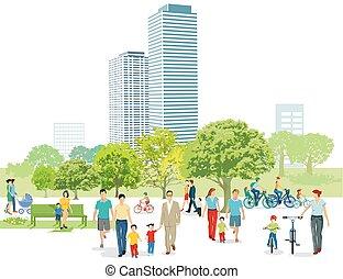 piétons, parc, familles, illustration.eps