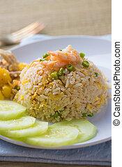 piña, arroz frito, tailandés, estilo