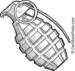 piña, granada de mano, bosquejo