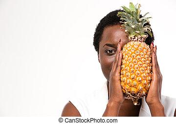piña, mitad, paliza, norteamericano, cara, africano, mujer ...
