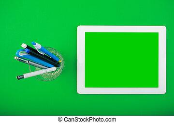 pióra, tabliczka, górny, biały, organiser, czysty, prospekt., worktop, ekran