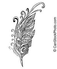 pióro, doodle, ptaszki, ilustracja, wektor