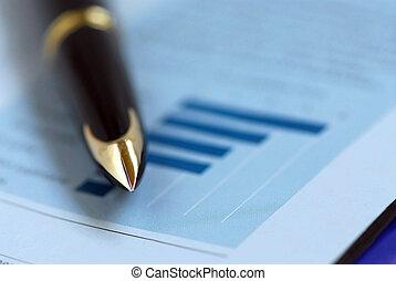 pióro, finanse, wykres