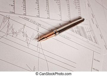pióro i, finansowy, wykresy