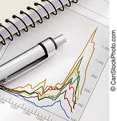 pióro i, notatnik, na, wykres