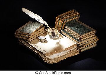 pióro, kałamarz, czarnoskóry, stary, fontanna, książki,...
