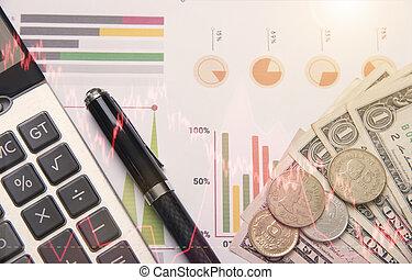 pióro, kalkulator, pieniądze, wykres, pień, pojęcie, dla, handlowy, finance.