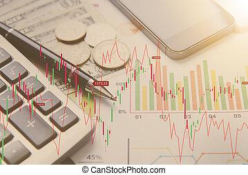 pióro, kalkulator, pieniądze, wykres, pojęcie, dla, handlowy, finance.