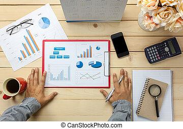 pióro, kawa, handlowy, czarnoskóry, również, kalkulator, notatnik, dyskutując, prospekt, wykresy, biuro, osoba, stacjonarny, kwiat, wykresy, tło., kasetka górna
