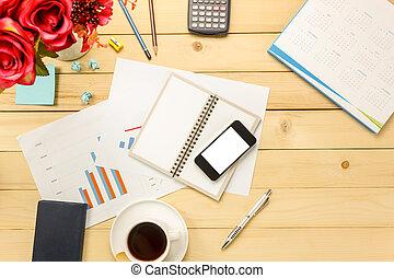 pióro, kawa, handlowy, czarnoskóry, również, kalkulator, notatnik, prospekt, wykresy, biuro, stacjonarny, kwiat, wykresy, tło., kasetka górna