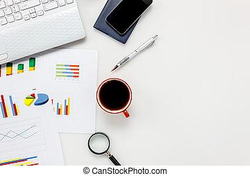 pióro, kawa, wykres, space., ruchoma głoska, concept., prospekt, biuro, papier listowy, kopia, laptop, górny, biurko, monokle, przybory, biały