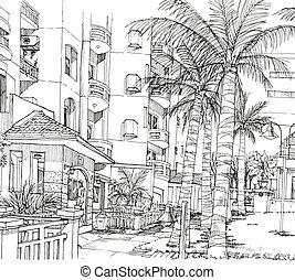 pióro, kondominium, kreska, architektura, rysunek