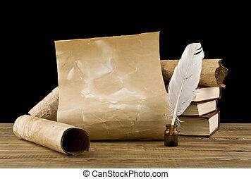 pióro, książki, stary
