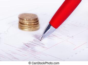 pióro, na, wykres, z, pieniądze, w, przedimek określony przed rzeczownikami, tło