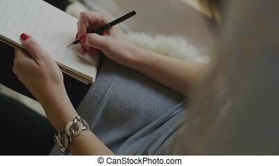 pióro, notatnik, samica, pisanie