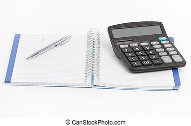pióro, pojęcie, notatnik, handlowy, kalkulator