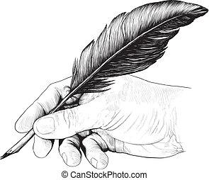 pióro, rysunek, pióro, ręka