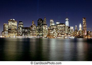 più basso, sole, sopra, l, famoso, york, serie, manhattan.,...