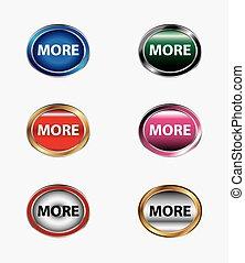 più, bottone, vettore, set, icona